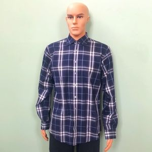 Burberry Blue Plaid Dress Shirt SZ Medium Men's